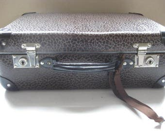 Beautiful little French suitcase/ briefcase in brown waxed carton.