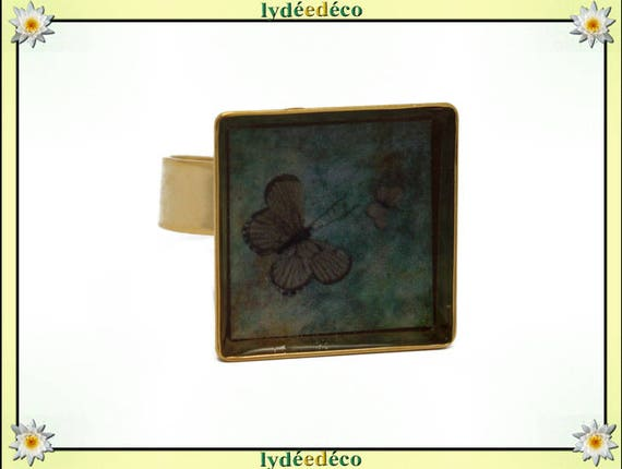 Butterfly ring in 24 carat 24 K gold plated brass square resin green brown taupe 17mm adjustable