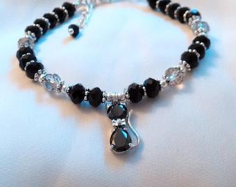 Cat Bracelet - Black Cat Crystal Bracelet - Cat Charm Bracelet - Lucky Cat Bracelet -