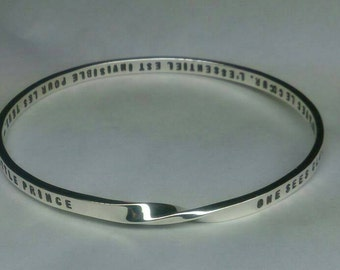 Mobius PERSONALIZED (up to 100 letters/numbers) hand stamped on 5mm/4mm x 2mm solid sterling silver strip. Made to order. Science meets Art