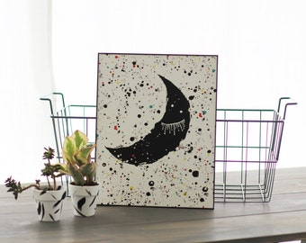 MoonPrint, Sleepy Moon Print, Crescent Moon, Lunar