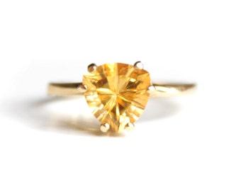 Triangle Citrine Ring (1005)