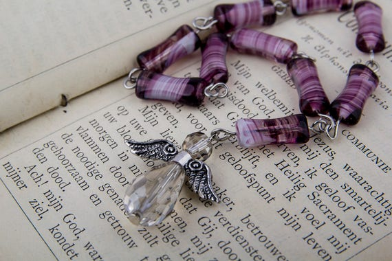 Purple glass bead mini Rosary, prayer beads with crystal angel