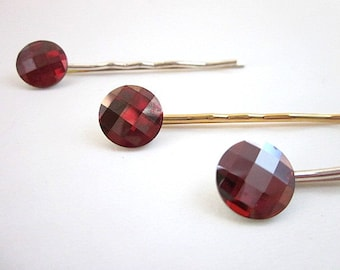 Crystal Hair Pin, Women's Red Hair Accessory, Swarovski Hair Pin, Red Crystal Hair Accessories, Red Crystal Hair Jewelry, Red Bobby Pin