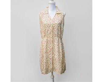 80s 90s Vintage Sundress | Yellow Floral Midi Dress - Size L Large