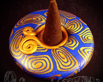 Incense Cone Holder handmade with polymer clay in any colours or design, made to order.