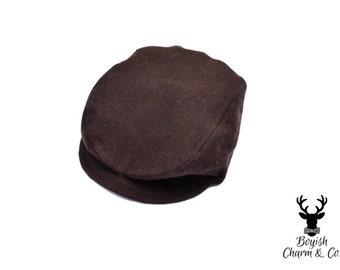 Baby Newsboy Hat, Brown Baby Hat, Brown Newsboy Hat,  Ring Bearer, Newborn Photo Prop, Golf Cap, Flat Cap, Baby Golf Hat, Pageboy Hat