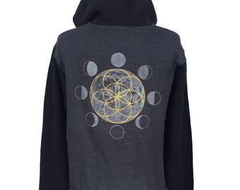 Seed of Life Moon Zip Up Hoodie - Black and Grey Hoodie - Glow in the Dark Zip Up Hoodie - Festival Hoodie  - Moon Phase Hoodie