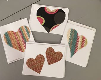 Heart Notecards, Blank Notecards, Greeting Cards, Valentines, Fabric Notecards