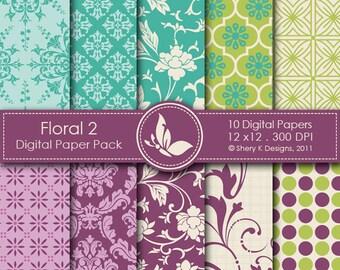 Floral 2 Paper Pack - 10 Printable Digital papers - 12 x12 - 300 DPI