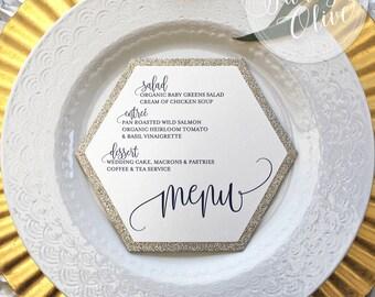 Silver Glitter Wedding Menu Hexagon - Simple Elegant Reception Rehearsal Dinner Shower Menu Die Cut - Custom Colors  & Fonts Available