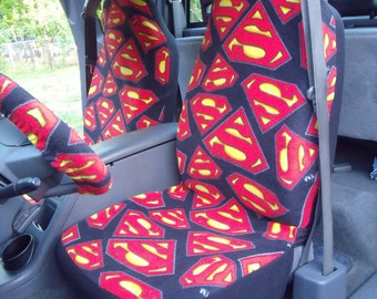 Clearance, A Set of Superman All Over Print  Seat Covers and Steering Wheel Cover Custom Made