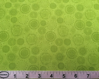 By The HALF YARD - Fall Fun By Stella Jean for Wilmington, #80695-777 Lime Circles, Tonal Green Medallions, Dots and Starburst on Green
