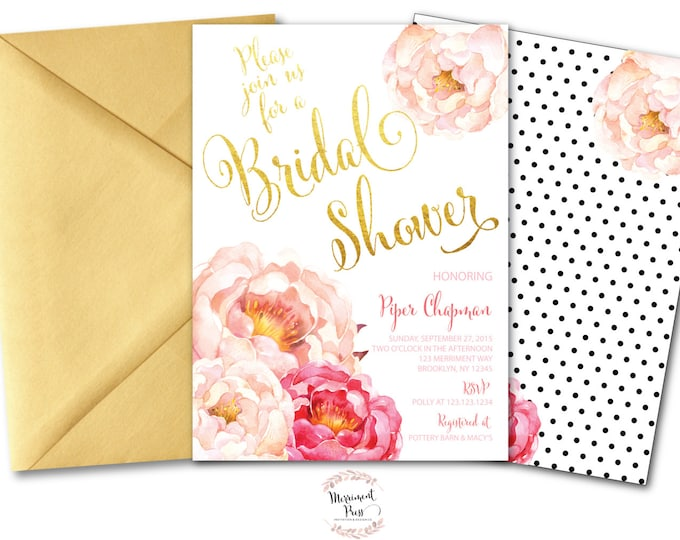 Peony Bridal Shower Invitation // Peonies // Watercolor // Pink // Gold // Polka Dots // Calligraphy // Faux Foil // CALABASAS COLLECTION