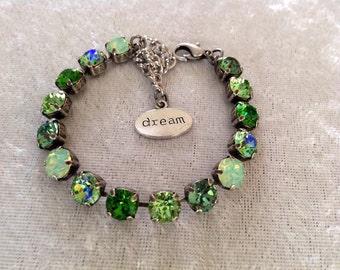 Swarovski crystal bracelet, 8mm, green- shamrock- Irish- holiday gift, wedding jewelry, bridesmaids,