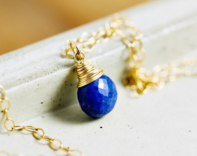 Lapis Lazuli Necklace, Lapis Lazuli, Lapis Pendant, Cobalt Gemstone, Gemstone Necklace, Gold Necklace, Cobalt Blue, PoleStar