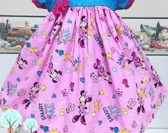 Retro Minnie Dress, Disney Vacation Dress, Minnie Birthday Dress, Pageant Wear OOC, Disney Dress, Girls Twirl Dress, Mouse Dress, Pink Mouse