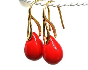 Red teardrop earrings Bright red gold drop earrings Red jewelry Glass briolette teardrop dangle earrings by MayaHoney