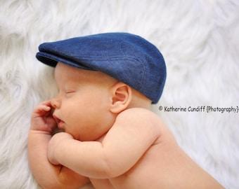 Denim baby hat, baby newsboy hat, newborn photo prop, denim flat cap, baby photography prop -  made to order