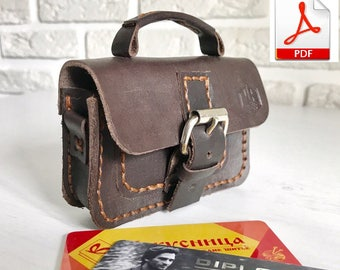 Leather card holder mini briefcase pattern