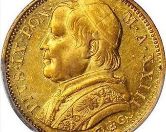 Italy papal States 1869 20 gold lire AU Pgcs AU 58