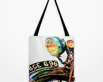 Tote Bag Vintage Motorcycle Texas Art Bag