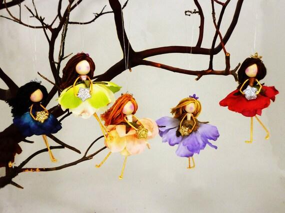 3 Flower Fairy Doll Ornaments Waldorf Christmas Fairies