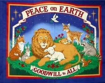 PEACE on EARTH GOODWILL to All Fabric Panel Pillow, Wall hanging