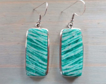 Ocean Green Amazonite Rectangle earrings in Sterling Silver