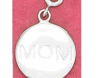 MOM Round Sterling Silver Charm -- Complimentary Ribbon or Cord