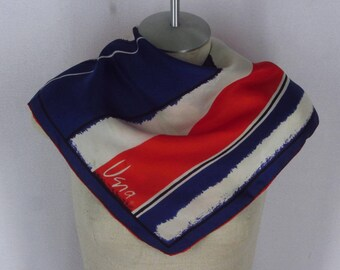 "Vintage Vera Neumann Silk Scarf Red White Blue Abstract Stripes 22"" Square"