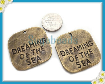 3 Dreaming of the Sea Square Pendants - Larger Antiqued Brass 30mm PB85