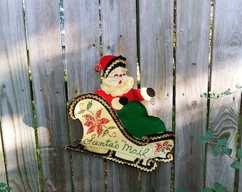 Santa In a Sleigh Santa Mail Card Holder Felt and Sequin
