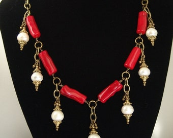 Red Branch Coral and Pearl Necklace and Earring Set