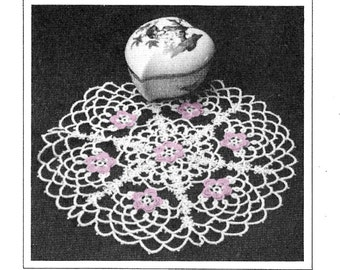 Tatting Pattern For Round Doily With Colored Flowers - PDF Pattern Download