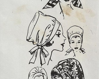Vintage 60s Tie Back Puffy Turban Glam Chapeaux Millinery Hat Sewing Pattern 3454 One Size