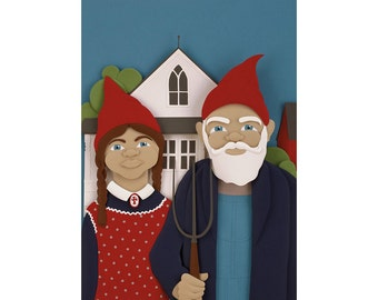 Gnomerican Gothic   Gnomes Postcard Art Print Of An Original Paper  Sculpture By Tiffany Budzisz
