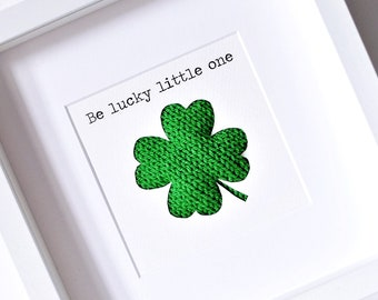 Unique baby gift - Four leaf clover - Baby shower - Good luck gift - New baby gift - Nursery decor - Gift for baby boy - Gift for baby girl