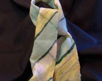 Felted Scarf - Merino Wool  - Green Yellow White Plaid - Winter Scarf - Felt Scarf - Wool Scarf - Gift for Her - Gift for Him