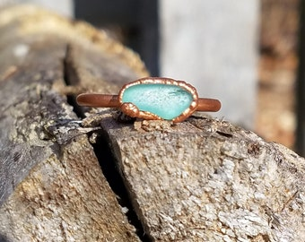 Light Blue Beach Glass and Electroformed Copper Ring Size 9.5