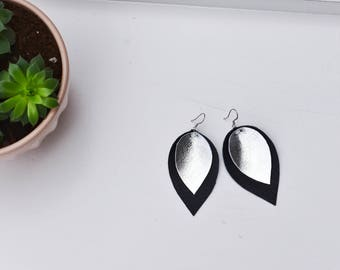 Black and Metallic Silver Leather Earrings