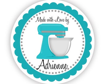 Kitchen Stickers - Blue Turquoise Grey, Kitchenaid Mixer, Food Cooking Personalized Baking Made By Label Stickers - 20 Round Kitchen Labels