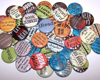 "Book Lover Pins (10 Pack), Reading Pinback Buttons, Books Party Favors, 1"" or 1.5"" or 2.25"" Pin Back Buttons or Magnets, Book Club, Read"