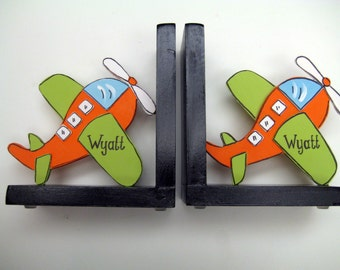 Airplane bookends,orange, black, personalized,customized,boys bookends,boys airplane bookend,childrens bookends,kids bookends,airplane theme