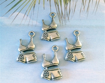 Bikini Bathing Suit Charms ---4 pieces-(Antique Pewter Silver Finish)--style 790-