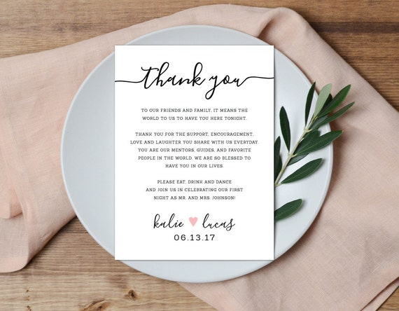 Thank you place setting wedding thank you card wedding table junglespirit Gallery