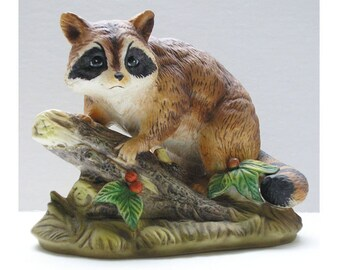 Homco Raccoon Figurine Porcelain Bisque Brown Vintage Retired 1247