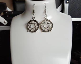 Pentagram fish hook dangle earrings