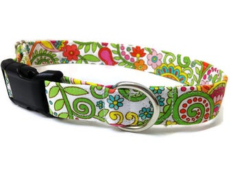 Paisley dog collar, Lily dog collar, Vera Dog collar,  Girl dog collar, floral dog collar, female dog collar, pink dog collar, large collar