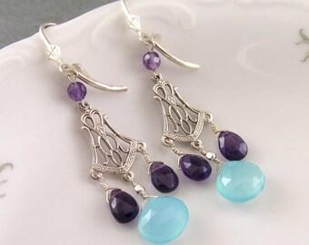 Amethyst and chalcedony chandelier earrings, handmade sterling silver earrings, February birthstone jewelry-OOAK
